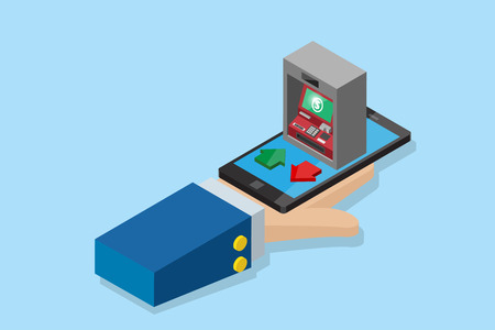 isometric business hand holding smartphone with ATM machine, financial and business concept.