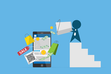 businessman pour bank notes and coins on smartphone, shopping online and business concept