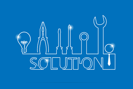 Outline tools and solution word, idea and business concept