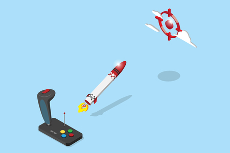 isometric joystick control rocket flying to red target, startup and business concept