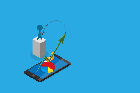 Isometric businessman use fishing rod to pull green arrow from smartphone Illustration