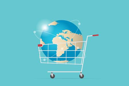 Shopping cart with world globe