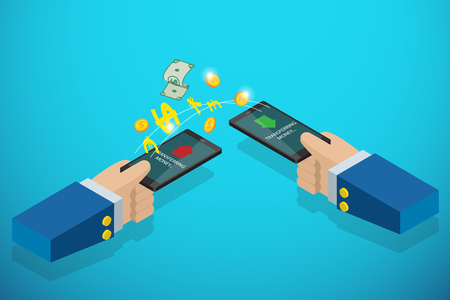 isometric business hands holding smartphone to transferring money, technology and business concept