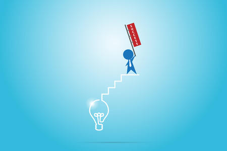 Businessman holding success flag on the stair of light bulb, success and business concept.