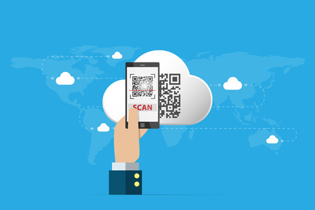 business hand holding smartphone to scan qr code on cloud, technology and business concept Vectores