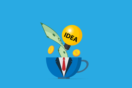 coffee cup in business uniform with light bulb and money, business concept Ilustrace
