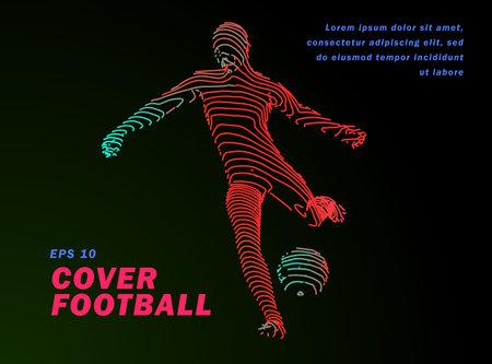 Football concept. Vector drawn by lines. Soccer art. Creative line-art set. Vector template brochures, flyers, presentations, print