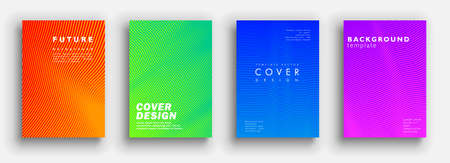 Future minimal covers design. Colorful halftone gradients. Background geometric patterns. Vector template brochures, flyers, presentations, leaflet, magazine a4 size  イラスト・ベクター素材