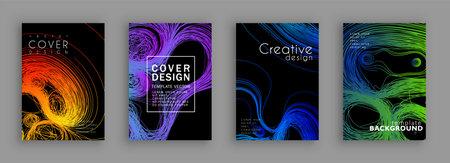 Threads-line conceptual design. Minimal covers design. Colorful halftone gradients. Background line art patterns. Vector template brochures, flyers, presentations, leaflet, magazine a4 size