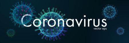 Novel Coronavirus. 2019-nCoV. Virus Covid-19. Coronavirus 3d isolated vector illustration. Black background pattern. Color line art