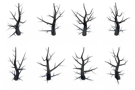 high angle view: Black tree isolate high angle view rendering on white background