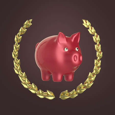 34: glossy pink shiny piggy bank surrounded by a golden laurel wreath 34 view