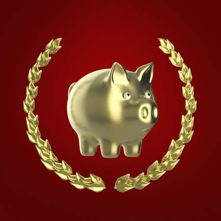penny: glossy golden shiny piggy bank surrounded by a golden laurel wreath front view