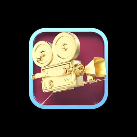 editor: high detailed vintage movie camera on rounded square background.High resolution 3d render application icon for video editor, camera VFX application. user interface element