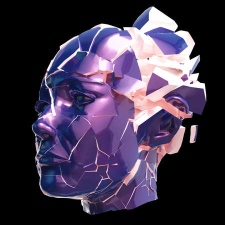 woman headache: Glossy woman head exploding shuttered - Headache, mental problems, stress, disaster concept illustration. High quality 3d render, isolated.