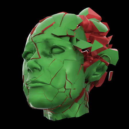 emotional pain: Glossy woman head exploding shuttered - Headache, mental problems, stress, disaster concept illustration. High quality 3d render, isolated.