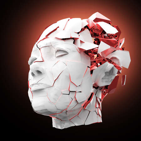 hardcore: Glossy woman head exploding shuttered - Headache, mental problems, stress, disaster concept illustration. High quality 3d render, isolated.