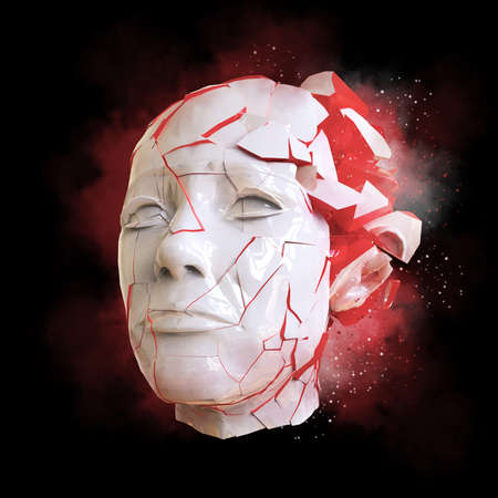stressed people: Glossy woman head exploding shuttered - Headache, mental problems, stress, disaster concept illustration. High quality 3d render, isolated.