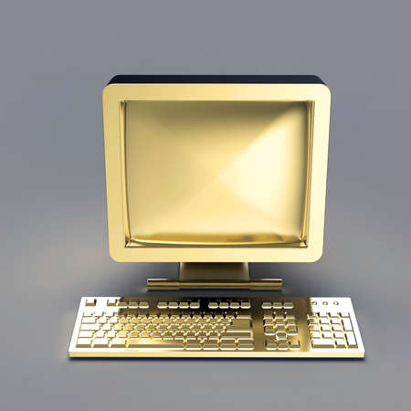 collectibles: old PC with CRT monitor and keyboard made of shiny gold isolated on grey backround