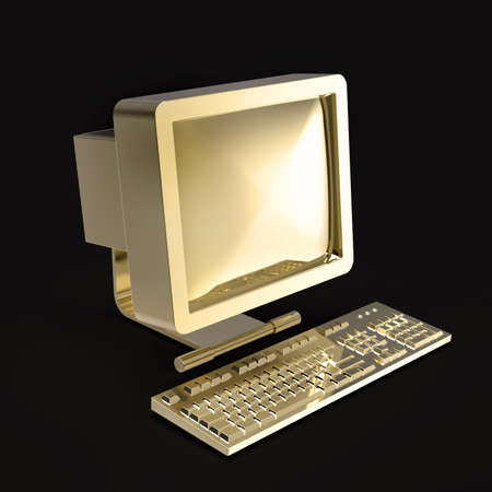 old pc: old PC with CRT monitor and keyboard made of shiny gold isolated on grey backround