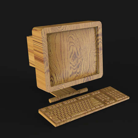 crt: old PC with CRT monitor and keyboard made of shiny gold isolated on grey backround