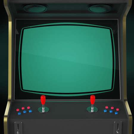 A vintage arcade game machine cabinet with pixel heart icon colorful controllers and a screen isolated. Stockfoto
