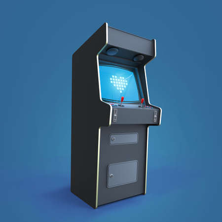A vintage arcade game machine cabinet with pixel heart icon colorful controllers and a screen isolated. Stock Photo
