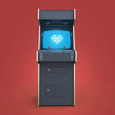 machine: A vintage arcade game machine cabinet with pixel heart icon colorful controllers and a screen isolated. Stock Photo