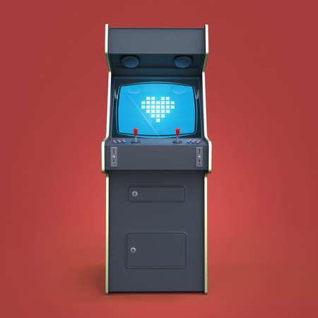 Een vintage arcade game machine kast met pixel heart icon kleurrijke controllers en een scherm geïsoleerd.