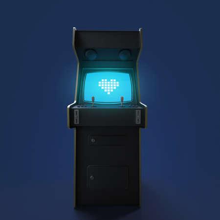 Una cosecha gabinete del juego de arcada de la máquina con el icono del corazón del pixel controladores de colores y una pantalla aislado.