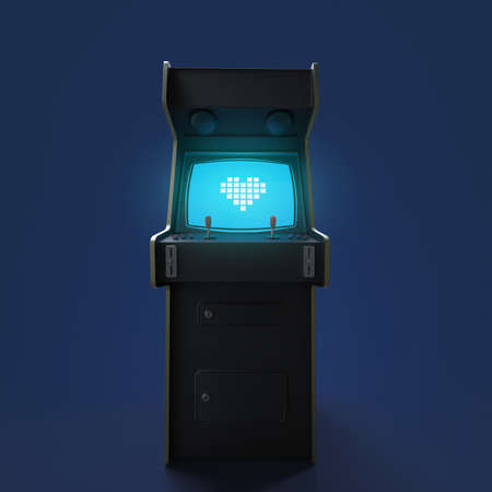 slot machines: Una cosecha gabinete del juego de arcada de la máquina con el icono del corazón del pixel controladores de colores y una pantalla aislado.