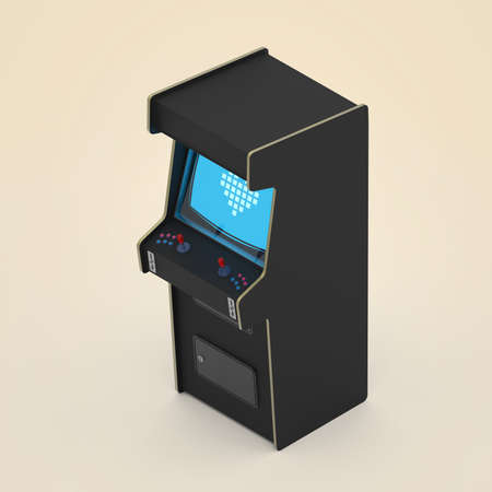A Vintage Arcade Game Machine Cabinet With Pixel Heart Icon ...