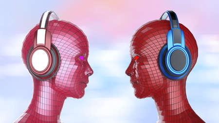 facing each other: two colorful disco girl-robot heads with shining eyes in big headphones facing each other, music poster template isolated 3d render. Stock Photo