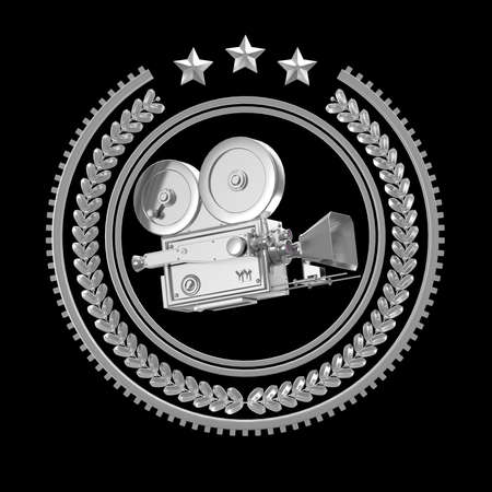 high detailed: High detailed vintage golden movie camera in laurel wreath badge with rings and stars. Movie award  icon, 3d rendering isolated on black background.