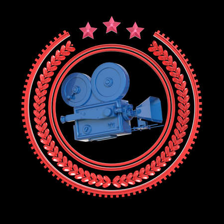 famous actor: High detailed vintage golden movie camera in laurel wreath badge with rings and stars. Movie award  icon, 3d rendering isolated on black background.