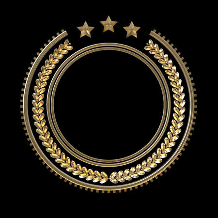 high quality metal badge template with laurel wreath and stars, award, seal, decoration, insignia. isolated on black background.