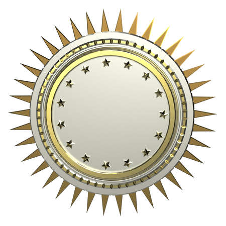 3d design element: realistic blank round shield with stars and spikes around, isolated high quality 3d render. Logo, badge, sign, achievement 3d design element.