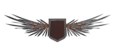 daggers: Realistic blank shield with stylized wings made of swords, blades and daggers, high quality 3d rendering, isolated. Badge, achievement, sign, design element