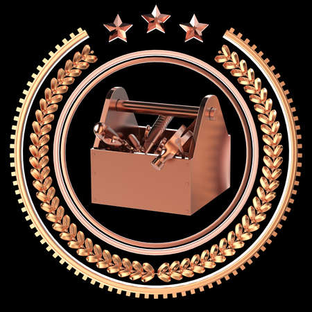 precious metal: High detailed precious metal toolbox with tools in laurel wreath badge with rings and stars. crafts, service, repair, work award badge icon, rendering isolated on black background. Stock Photo