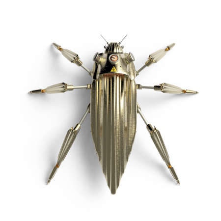 dubstep: top view of artificial, streamline, art deco style, beetle insect robot high resolution 3d render