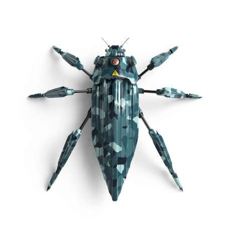 top view of artificial, streamline, art deco style, beetle insect robot high resolution 3d render