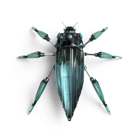dieselpunk: top view of artificial, streamline, art deco style, beetle insect robot high resolution 3d render