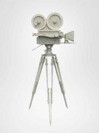 16mm: vintage retro movie camera on tripod mount isolated on white high quality 3d rendering
