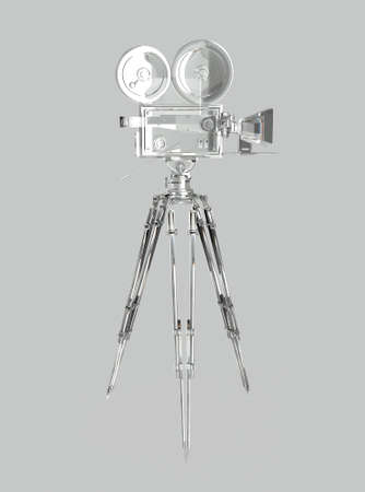 35mm film motion picture camera: vintage retro movie camera on tripod mount isolated on white high quality 3d rendering