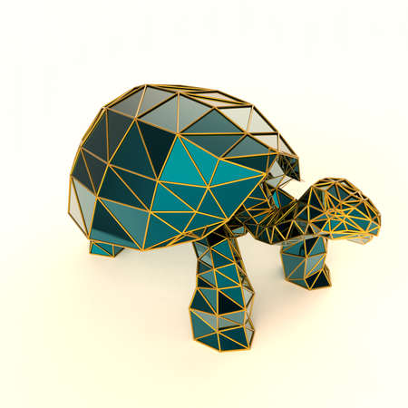 caustic: shiny luxury crystal sapphire galapagos tortoise with edges framed with golden wire, isolated on white background 3d render