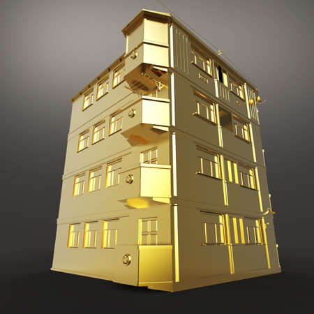 building construction: Shiny golden house roof side view 3d rendering isolated on dark background. Metaphor of expensive city realty. Stock Photo