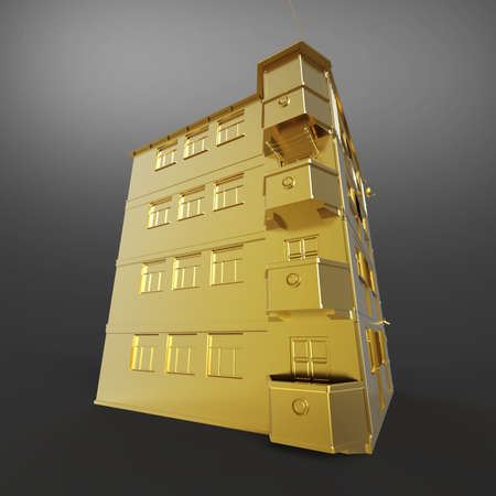 home construction: Shiny golden house roof side view 3d rendering isolated on dark background. Metaphor of expensive city realty. Stock Photo