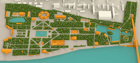 gorky: high detailed 3d map of Moscow Gorky park and Moscow river, Infogarphic Stock Photo
