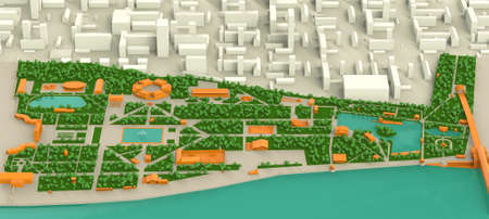 city block: high detailed 3d map of Moscow Gorky park and Moscow river, Infogarphic Stock Photo