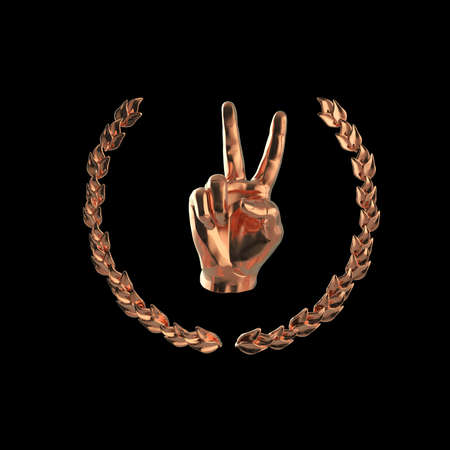 1st place: golden human hand showing victory or peace gesture, surrounded by golden laurel wreath, isolated on black background 3d rendering 1st place Stock Photo